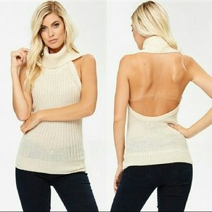 Tops - 🎉 Sale! Halter Knit Open Back Top - Ivory